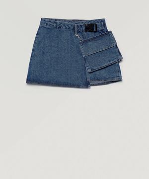デニムポケット付きラップスカート