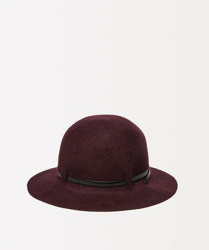 ウールフェイクレザーリボンハット・帽子