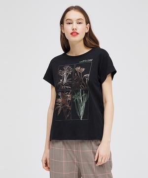 コットンプリント袖ダブル半袖Tシャツ・カットソー