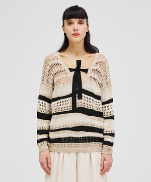 飾り編みボーダーニット・セーター