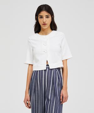 リネン混半袖ミニジャケット