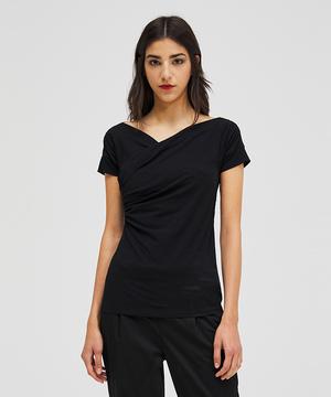 カシュクール風ストレッチ半袖Tシャツ・カットソー