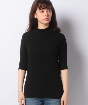 リブハイネック5分袖Tシャツ・カットソー