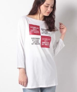 プリントボートネック7分袖Tシャツ・カットソー