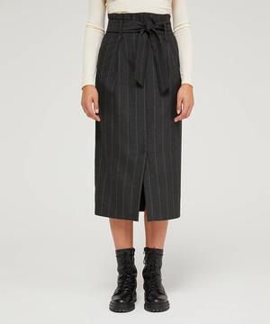 ピンストライプリボンベルトタイトスカート