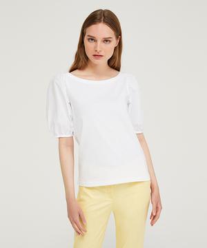 ボートネックポプリンバルーン袖Tシャツ・カットソー