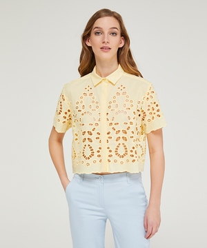 アイレット半袖ミニシャツ・ブラウス