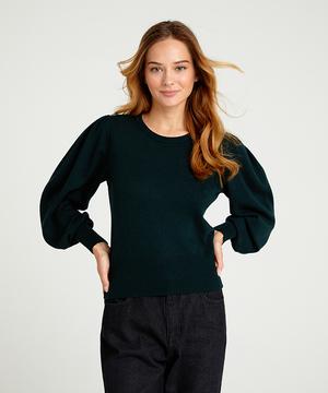 ウール混長袖タックスリーブニット・セーター