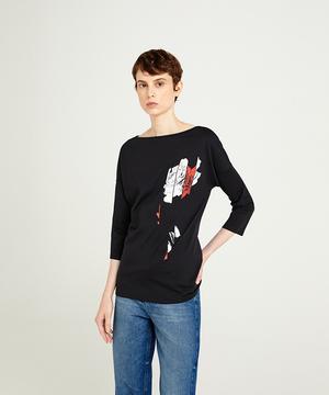 ボートネック型押し7分袖Tシャツ・カットソー