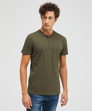 コットンスラブヘンリーネック半袖Tシャツ・カットソー