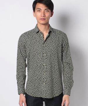 コットンプリント長袖シャツ