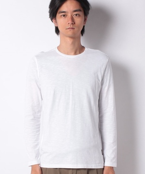 スラブラウンドネック長袖Tシャツ・カットソー