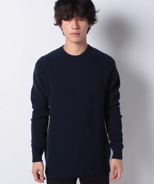 ウールリブ編みラウンドネックニット・セーター