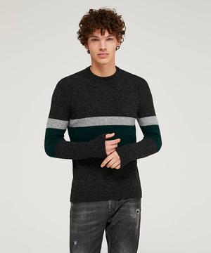 カラーブロックラインラウンドネックニット・セーター