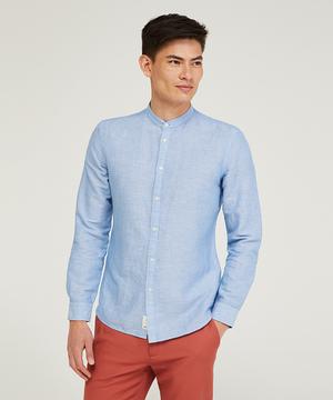 リネンシャンブレーバンドネックシャツ