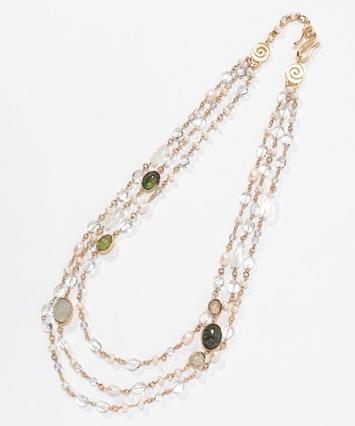 水晶淡水パール真鍮フランス製ネックレス|GOOSSENS Paris(グーセンス パリ)