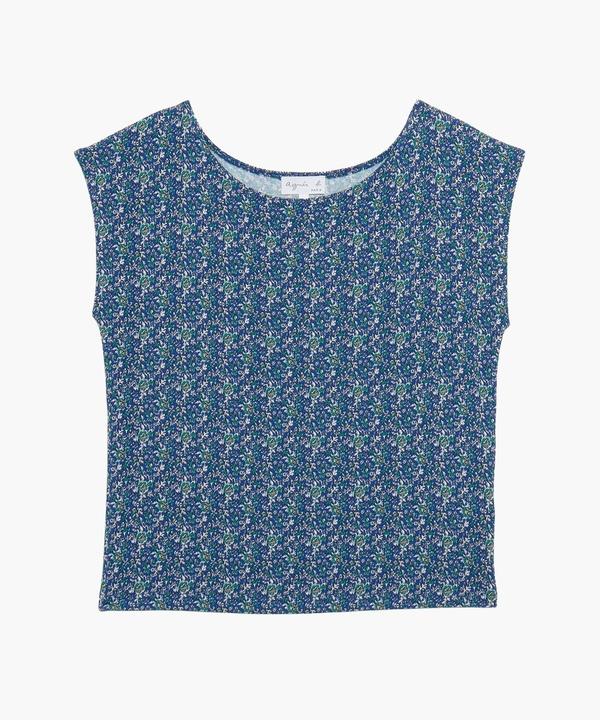JGY5 TS フラワープリントフレンチスリーブTシャツ