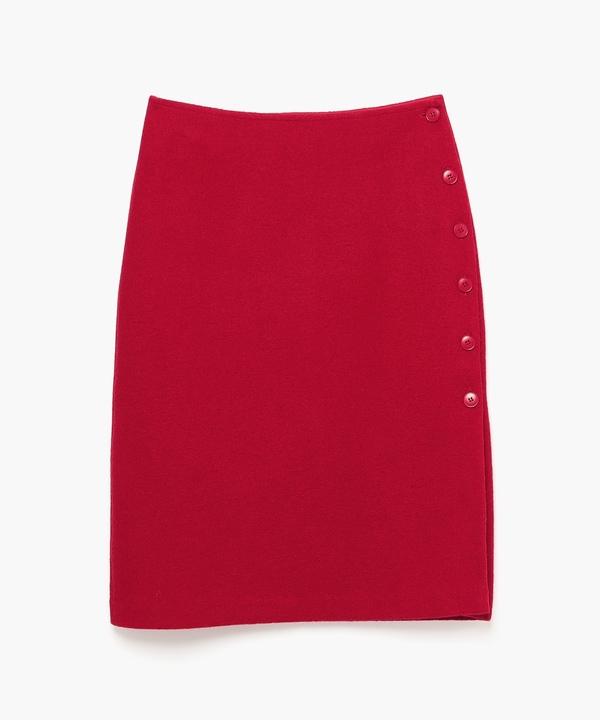 JW63 JUPE サイドボタンウールスカート