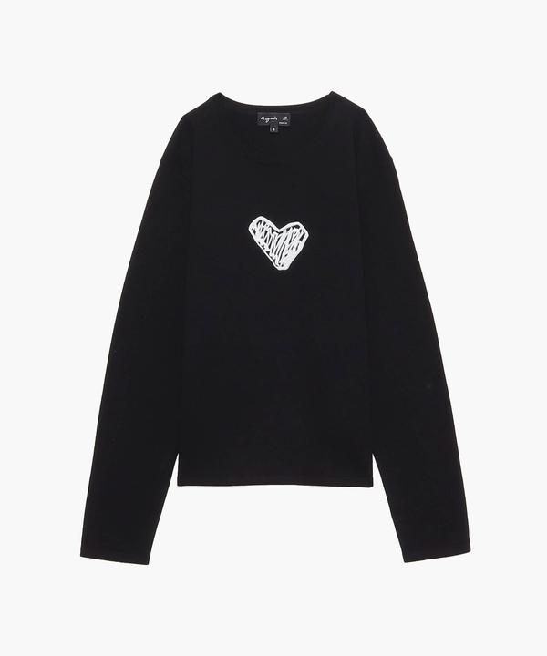 LS72 PULL  ハート刺繍セーター