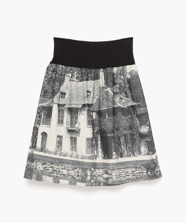 TCA8 JUPE モノクロフォトプリントスカート