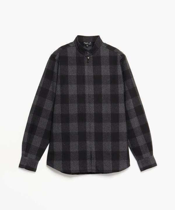 CAI5 CHEMISE ブロックチェックジップアップシャツジャケット