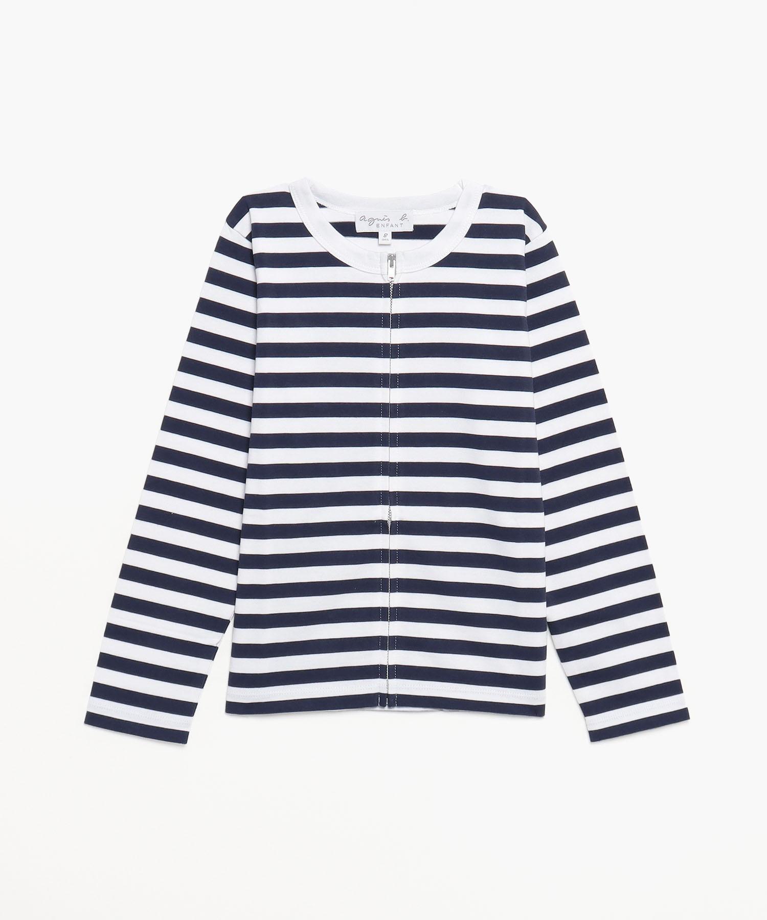 J008 E TS キッズ ボーダージップTシャツ