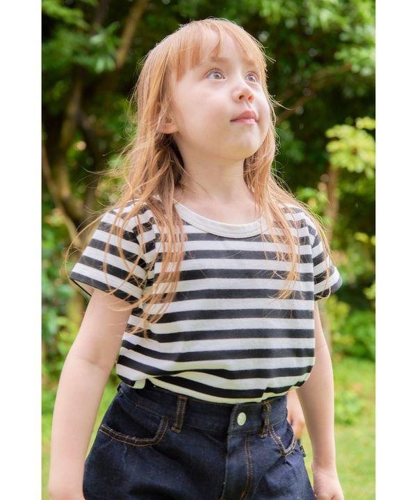 J008 E TS キッズ ボーダーTシャツ