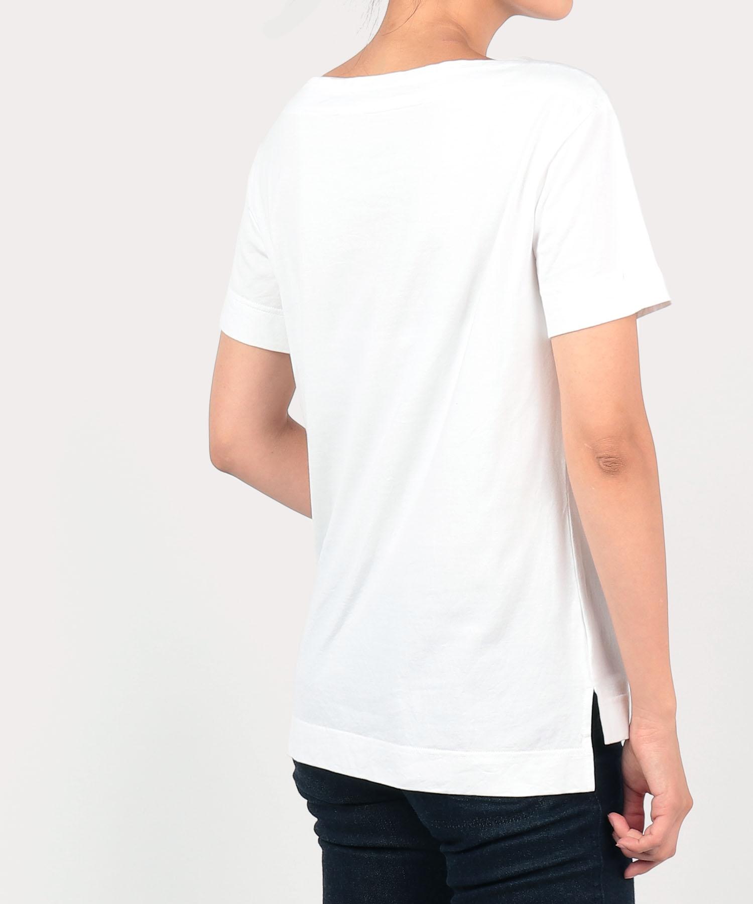 フラワーバスケット ボートネックTシャツ