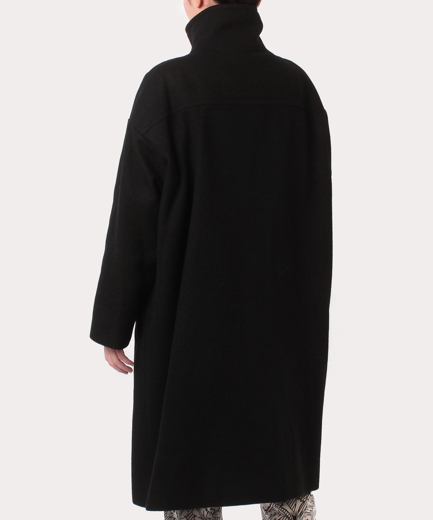 ウールメルトン スタンドカラーコート