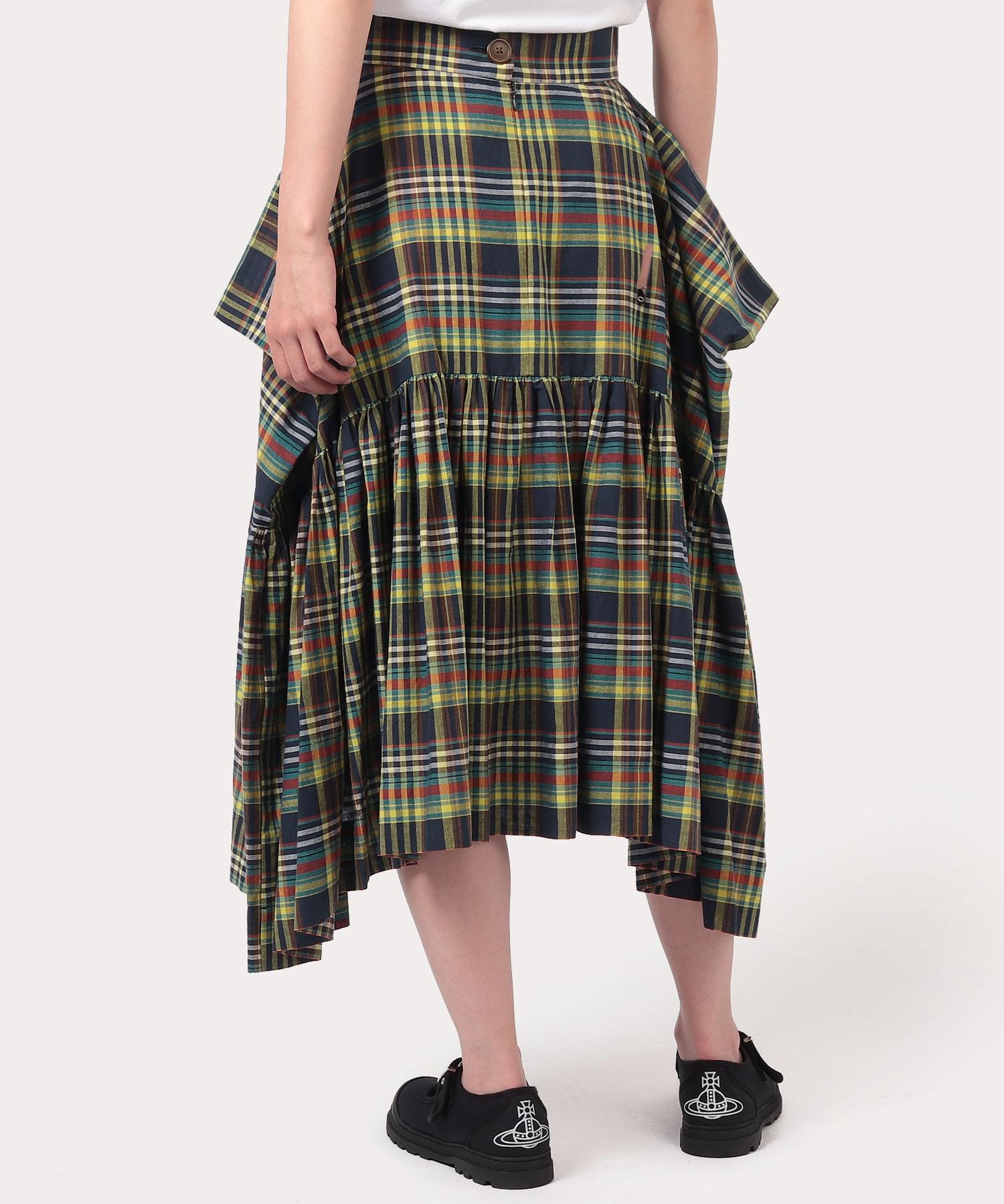 先染めチェック スカート