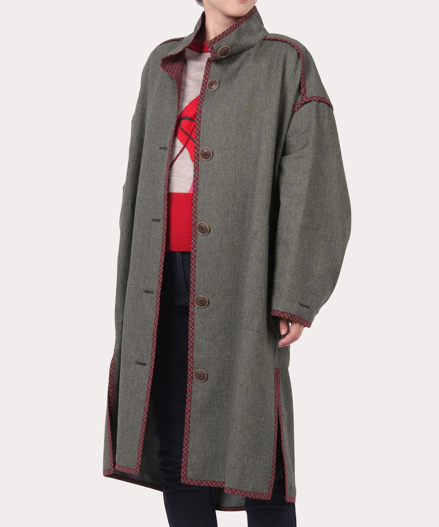 綿ウール チェックパイピング コート