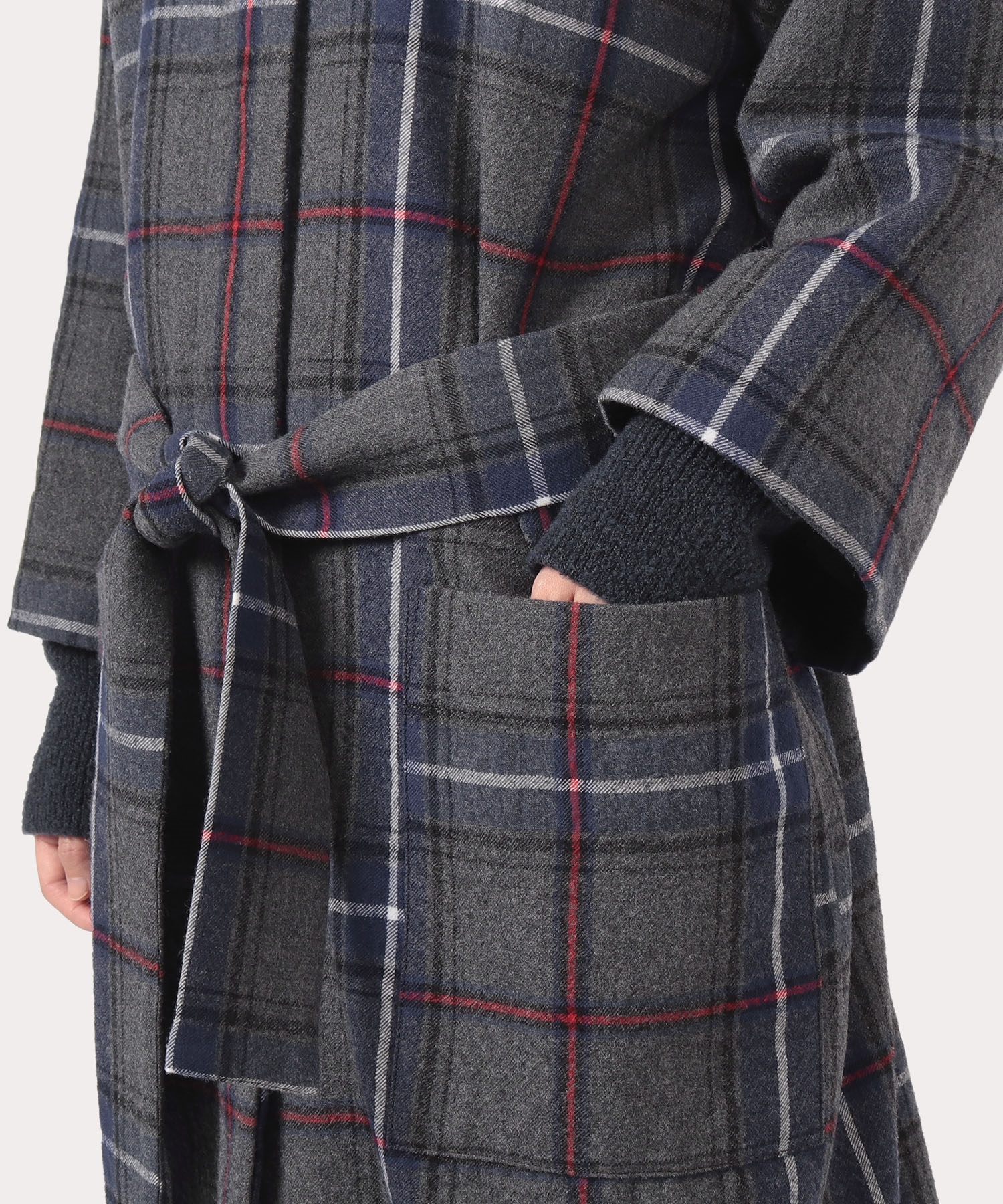 タータンチェック縮絨 マフラー付ロングコート
