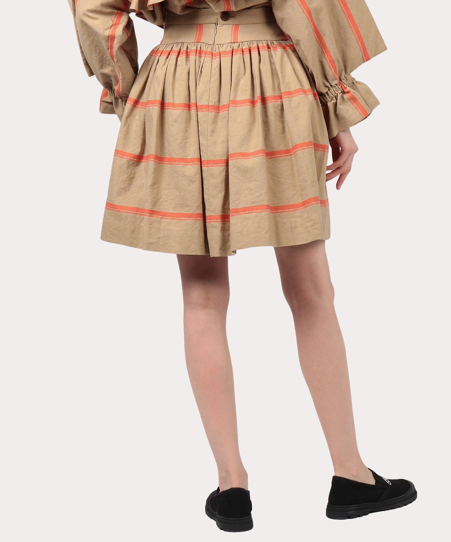 綿麻ストライプ パニエスカート