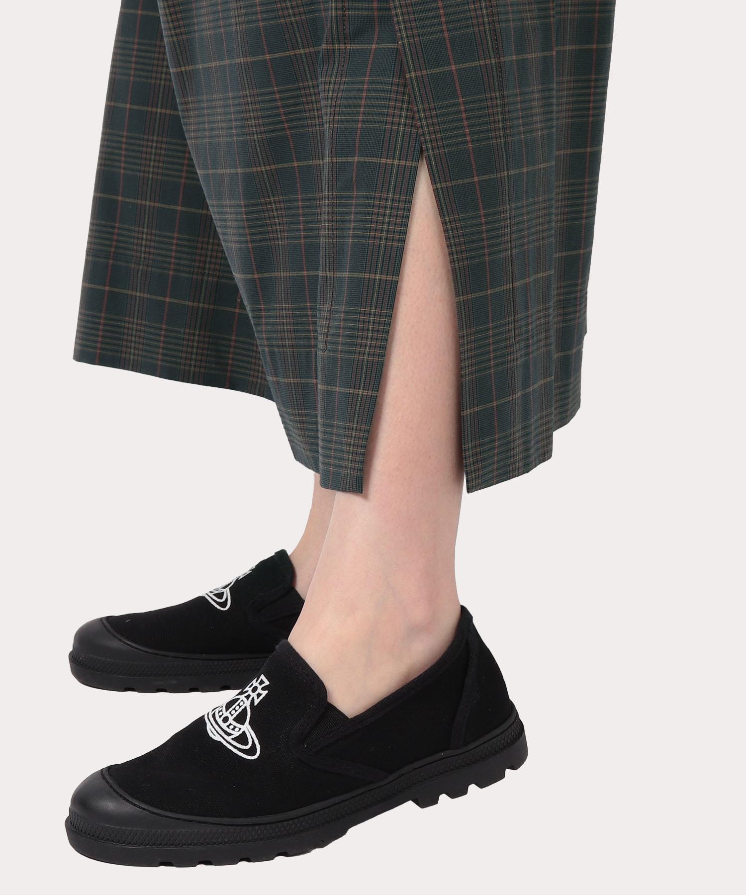 チェック×リバティプリント ロングスカート