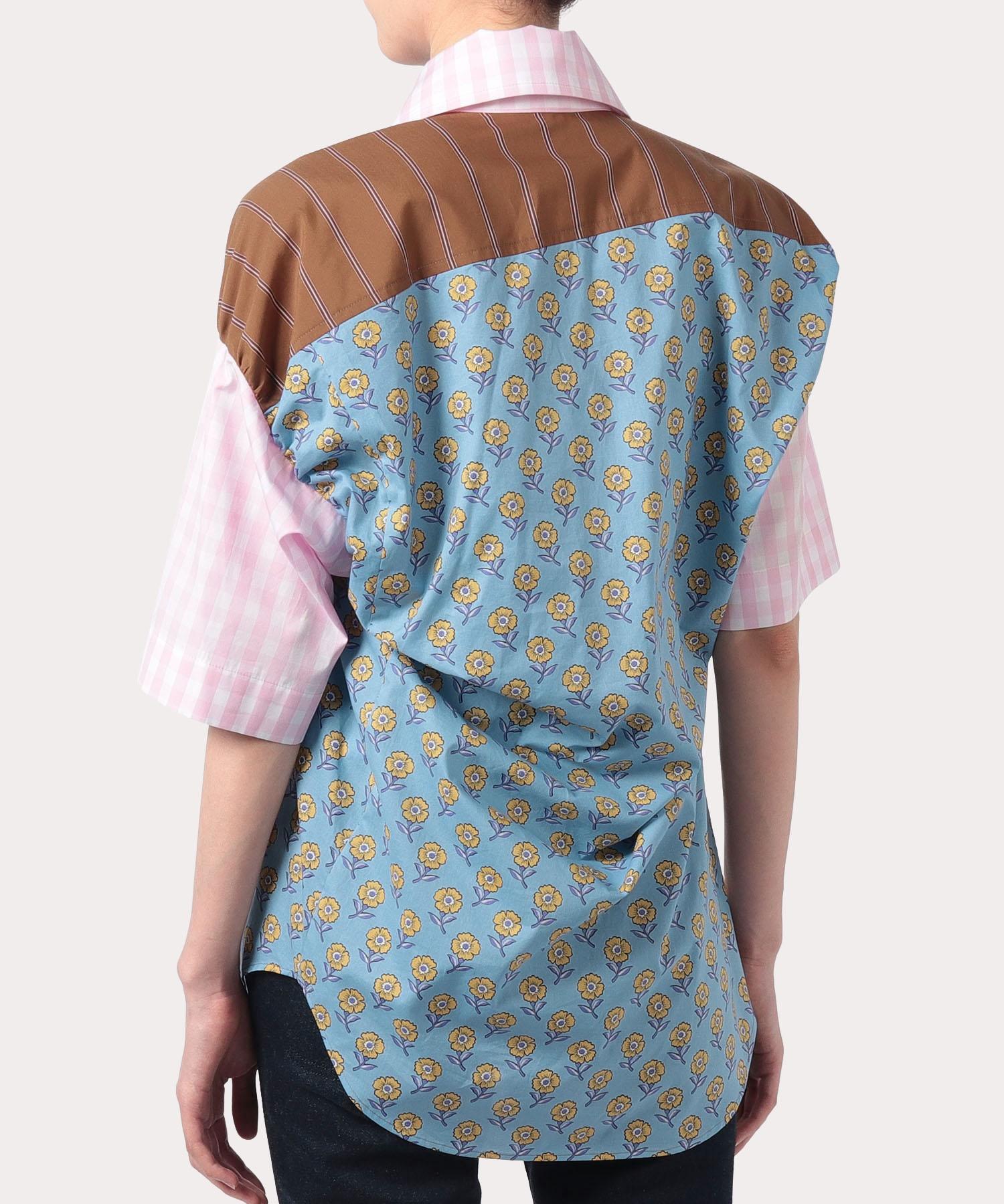 コットンフラワー ブロッキング アシンメトリーシャツ