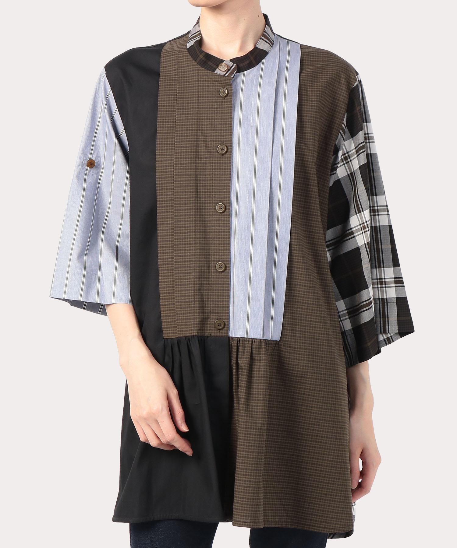 チェック×ストライプ ブロッキング 七分袖シャツ