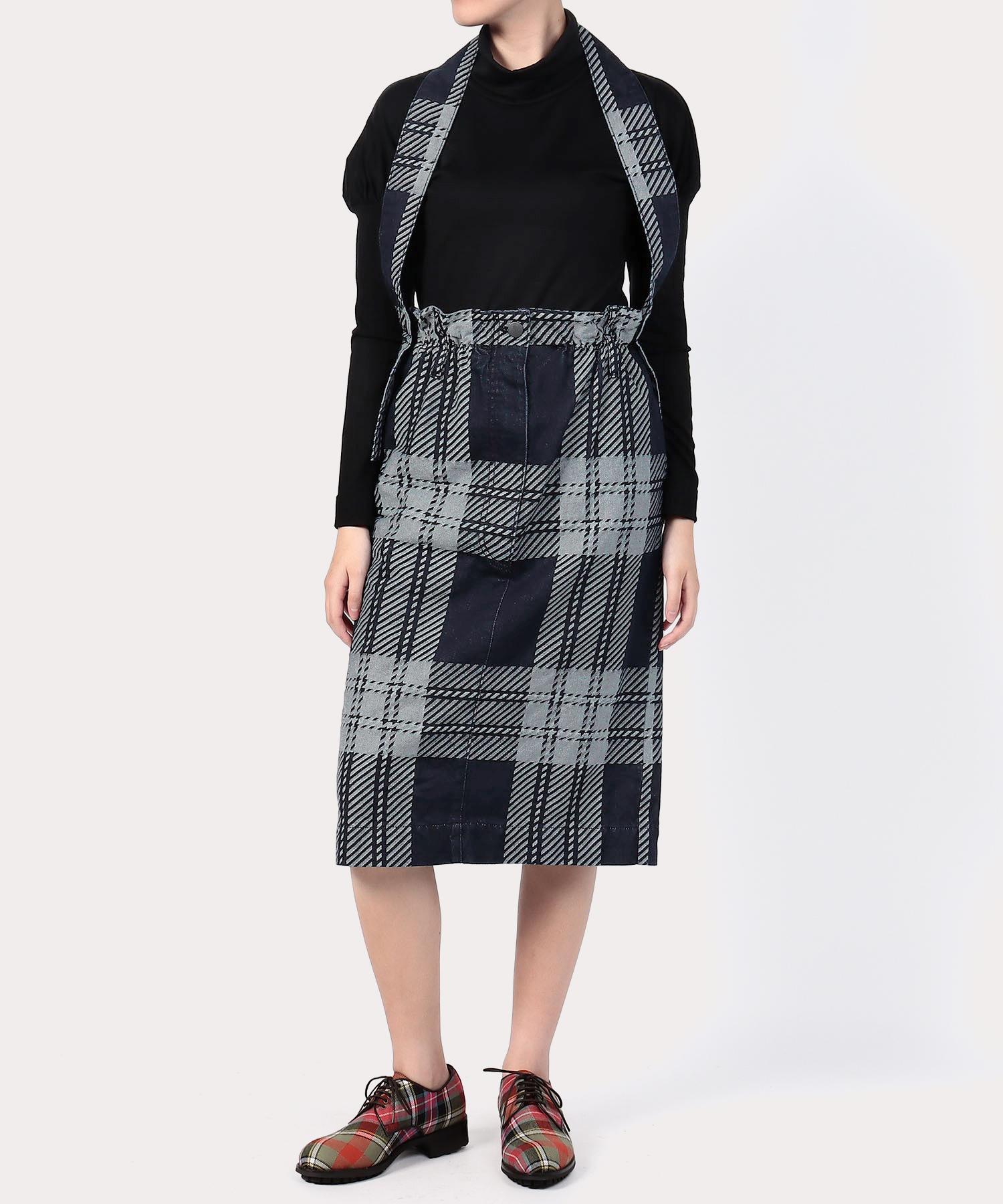 タータンチェックデニム ストラップ付スカート