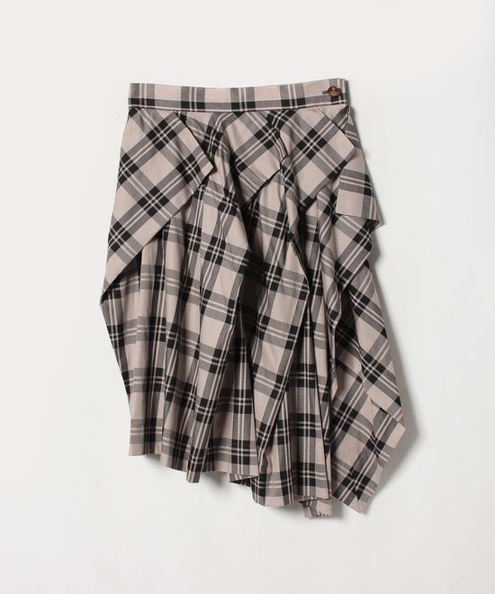 コットンチェック 巻きスカート