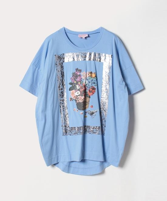 フラワーバスケット ルーズシルエットTシャツ