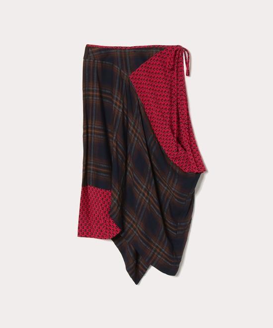 チェック×フラワープリントスカート