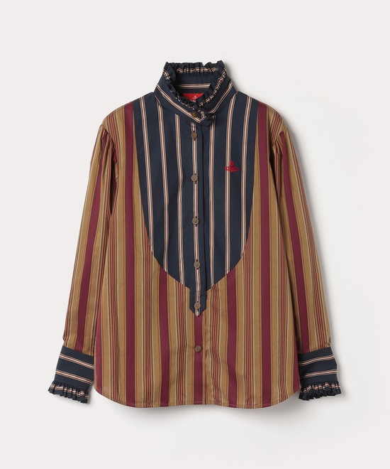 ストライプブロッキング フリルシャツ