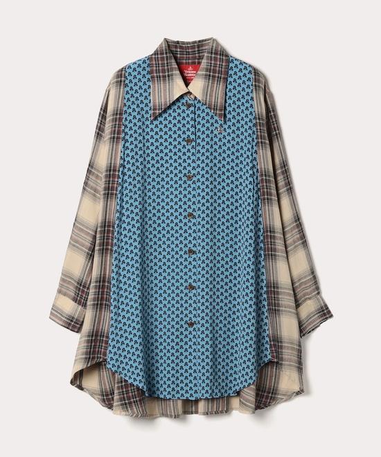 チェック×フラワープリント サークルシャツ