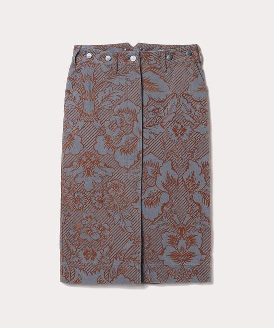 デニムブロケード ひざ丈スカート