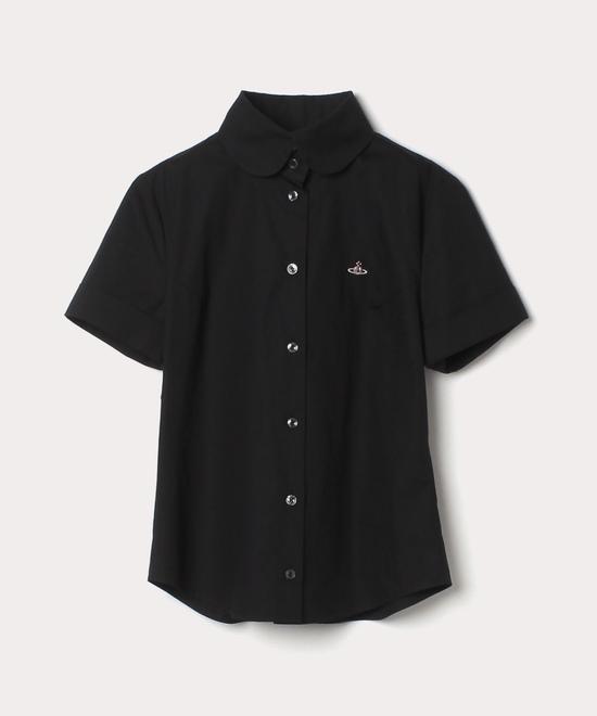 ブロード ラウンドカラー 半袖シャツ