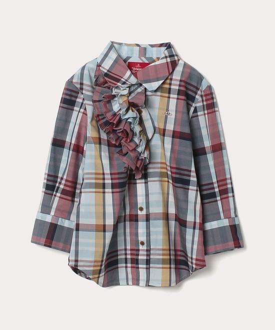 サマーチェック フリルシャツ