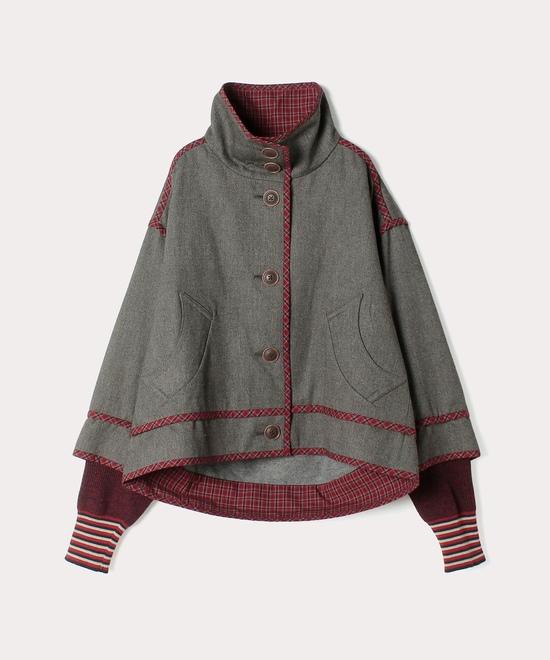 綿ウール チェックパイピング ジャケット