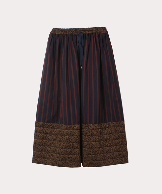 小花×ストライプ ロングスカート