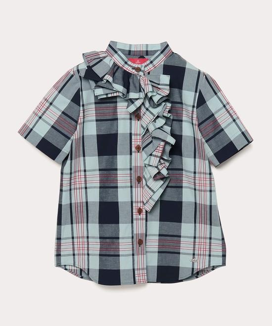 サマーチェック フリル 半袖シャツ