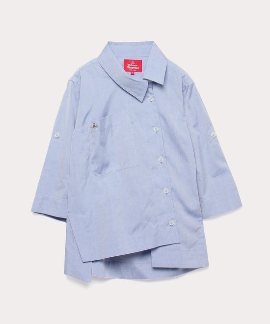 シャンブレー アシンメトリーシャツ