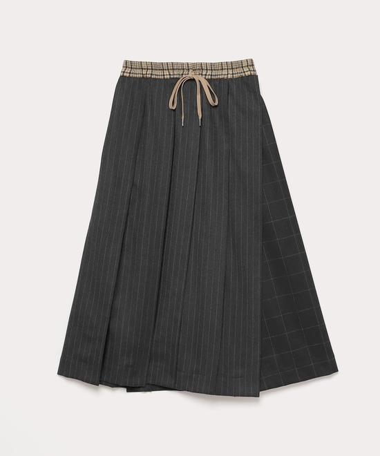 ウールブロッキング ロングプリーツスカート